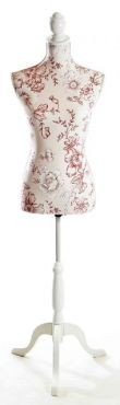 Display and Dressmaking Form Red Floral Fabric